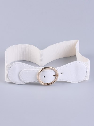 Bowknot Round Buckle Elastic Belt - WHITE  Mobile