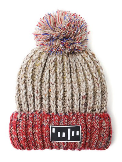 Stripy Pom Ball Flanging Knitted Beanie - BEIGE  Mobile