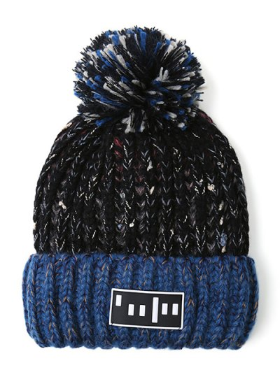 Stripy Pom Ball Flanging Knitted Beanie - BLACK  Mobile