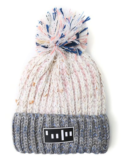 Stripy Pom Ball Flanging Knitted Beanie - WHITE  Mobile