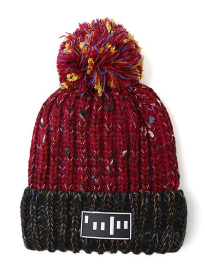 Stripy Pom Ball Flanging Knitted Beanie - RED  Mobile