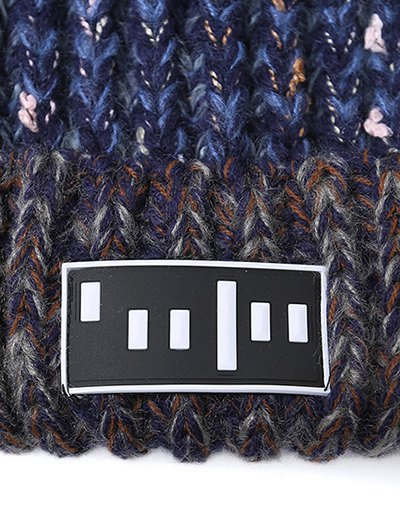 Stripy Pom Ball Flanging Knitted Beanie - BLUE  Mobile