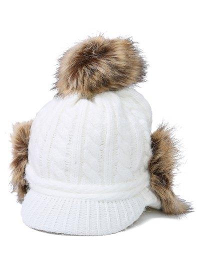 Pom Ball Hemp Flowers Knitted Hat - WHITE  Mobile