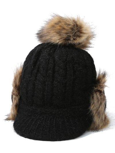 Pom Ball Hemp Flowers Knitted Hat - BLACK  Mobile