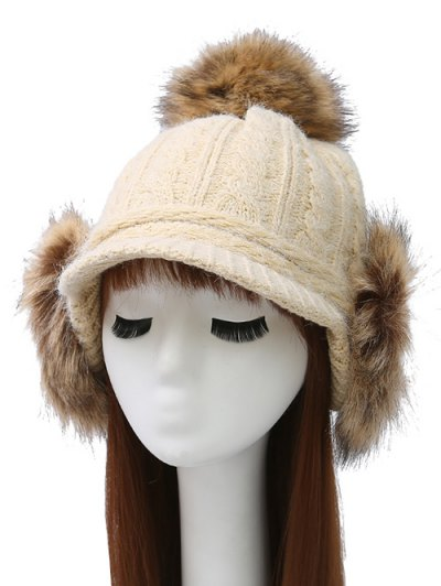 Pom Ball Hemp Flowers Knitted Hat - BEIGE  Mobile