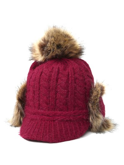 Pom Ball Hemp Flowers Knitted Hat - WINE RED  Mobile