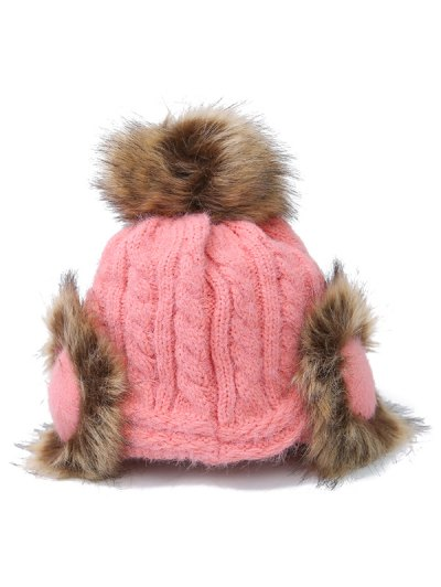 Pom Ball Hemp Flowers Knitted Hat - PINK  Mobile