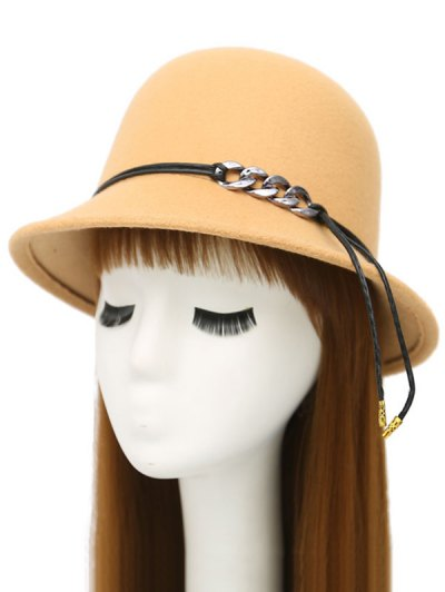 PU Rope Dome Hat - BEIGE  Mobile