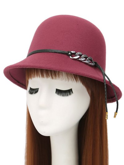 PU Rope Dome Hat - WINE RED  Mobile