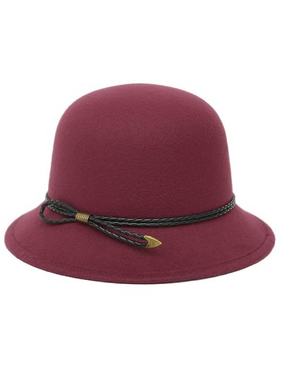 PU Rope Arrow Dome Hat - WINE RED  Mobile