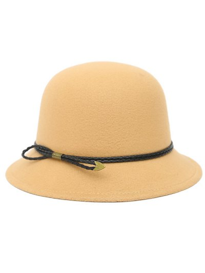 PU Rope Arrow Dome Hat - BEIGE  Mobile