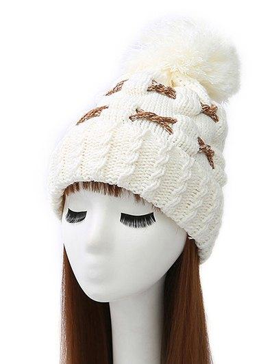 Criss Cross Pom Ball Knitted Beanie - WHITE  Mobile