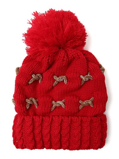 Criss Cross Pom Ball Knitted Beanie - BRIGHT RED  Mobile