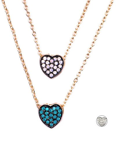 Rhinestone Layered Heart Necklace - GOLDEN  Mobile
