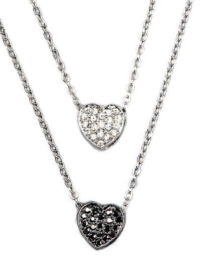 Rhinestone Layered Heart Necklace - SILVER  Mobile