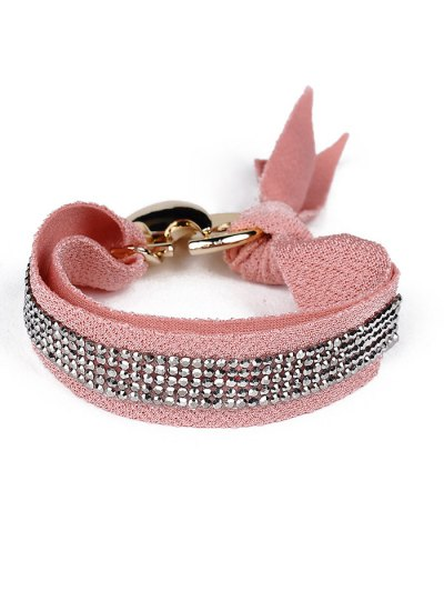 Bowknot Rhinestone Lint Bracelet - PINK  Mobile