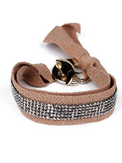 Bowknot Rhinestone Lint Bracelet - BROWN  Mobile