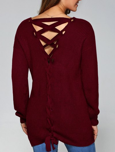 Drop Shoulder Lace Up Sweater - WINE RED M Mobile