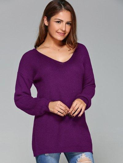 Drop Shoulder Lace Up Sweater - PURPLE M Mobile