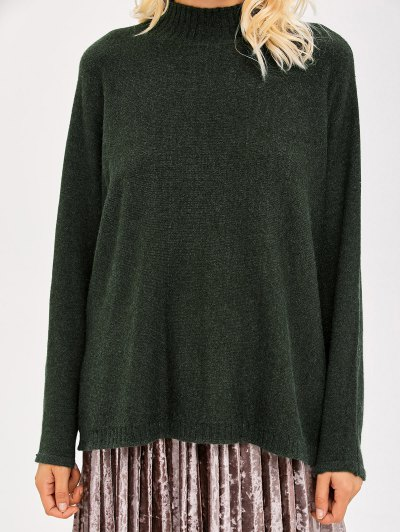 Mock Neck Dolman Sleeve Boyfriend Sweater - ARMY GREEN ONE SIZE Mobile