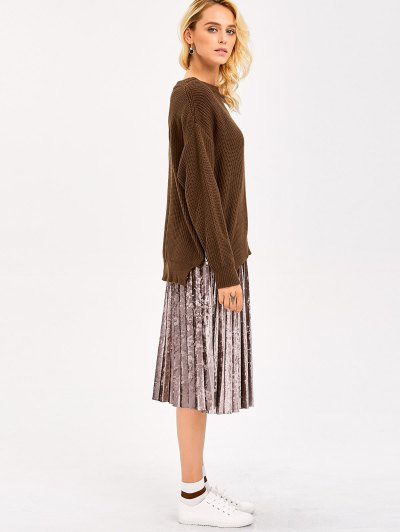 Zipper Design Chunky Sweater - BROWN ONE SIZE Mobile