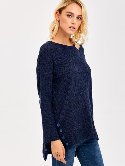 Side Slit Hollow Out Sweater - PURPLISH BLUE ONE SIZE Mobile
