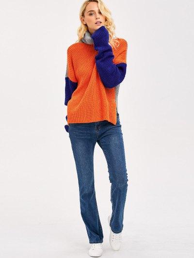 Pullover Side Slit Drop Shoulder Sweater - COLORMIX ONE SIZE Mobile