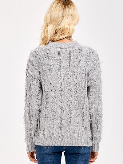 Fringe Design Drop Shoulder Sweater - LIGHT GRAY ONE SIZE Mobile