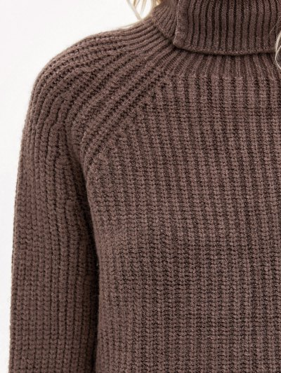 Front Slit Roll neck Sweater - COFFEE ONE SIZE Mobile