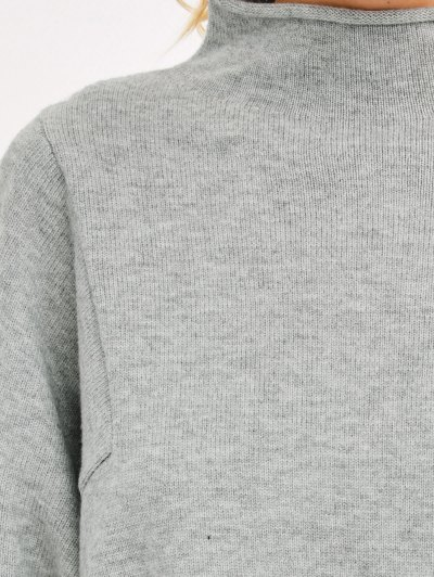 High Low Mock Neck Knitwear - LIGHT GRAY ONE SIZE Mobile