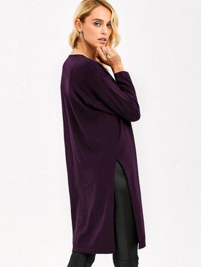 Longline Side Slit Knitwear - SPARKLING GRAPE ONE SIZE Mobile