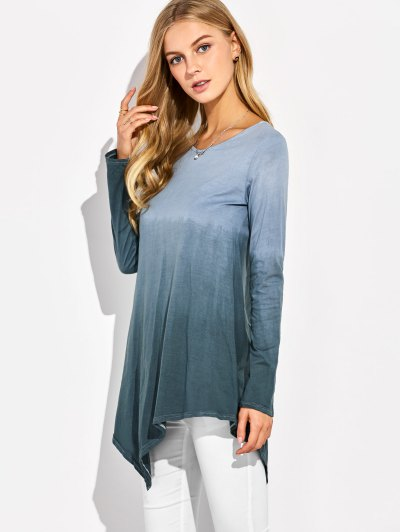 Ombre V Neck Asymmetrical Tee - GRAY S Mobile