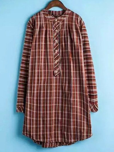 Plaid Buttoned Long Sleeve Dress - JACINTH 2XL Mobile