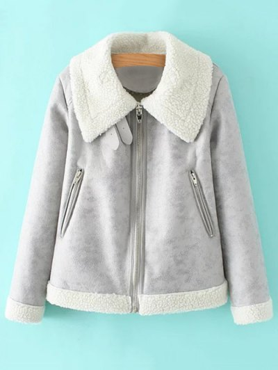 PU Leather Zipper Pocket Faux Shearling Coat - GRAY S Mobile