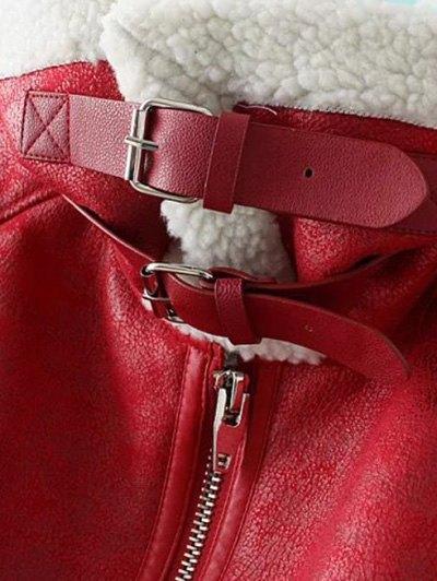 PU Leather Zipper Pocket Faux Shearling Coat - BLUE L Mobile