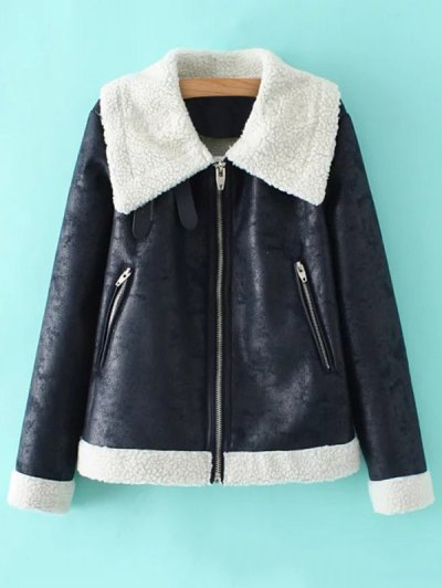 PU Leather Zipper Pocket Faux Shearling Coat - BLUE M Mobile