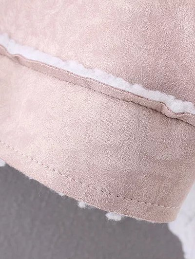 Cropped Faux Shearling Coat - LIGHT PINK L Mobile