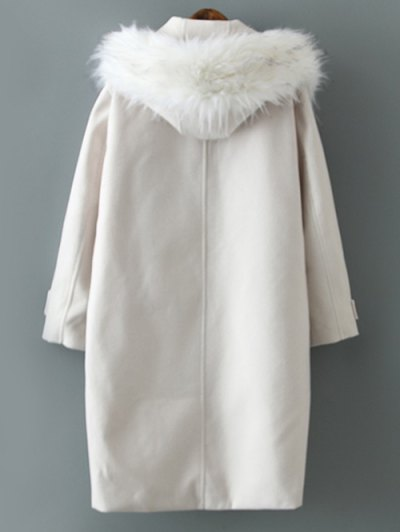 Fur Hooded Woolen Coat - OFF-WHITE M Mobile