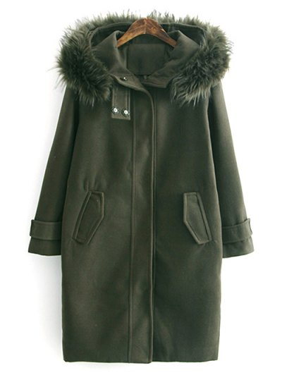 Fur Hooded Woolen Coat - ARMY GREEN M Mobile