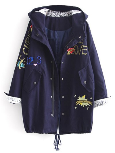 Letter Embroidered Hooded Sequins Coat - DEEP BLUE M Mobile