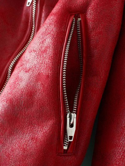 PU Leather Zipper Pocket Faux Shearling Coat - RED L Mobile