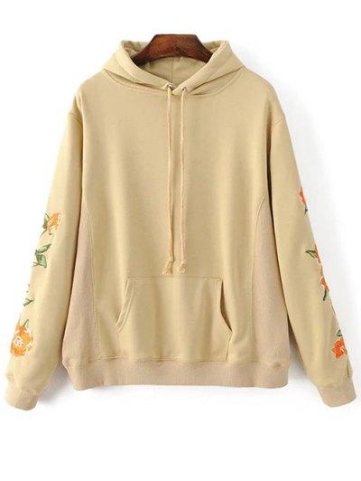 Floral Embroidered Big Pocket Hoodie - KHAKI M Mobile