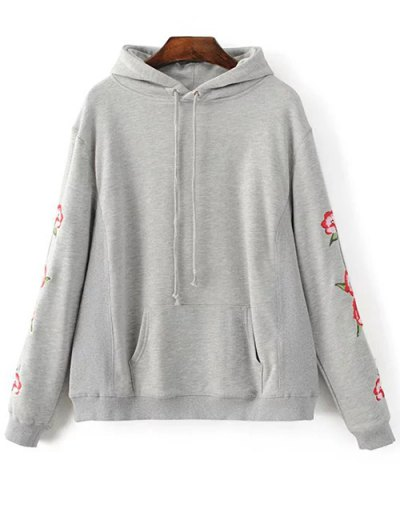 Floral Embroidered Big Pocket Hoodie - GRAY L Mobile