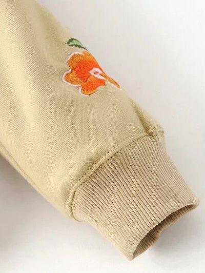 Floral Embroidered Big Pocket Hoodie - BLACK S Mobile