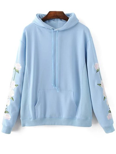 Floral Embroidered Big Pocket Hoodie - LIGHT BLUE S Mobile