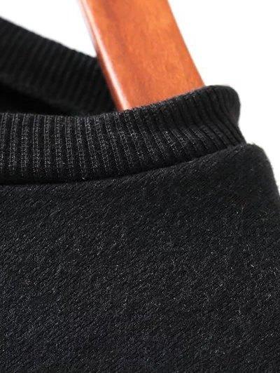 Sequins Crew Neck Long Sweatshirt - BLACK L Mobile