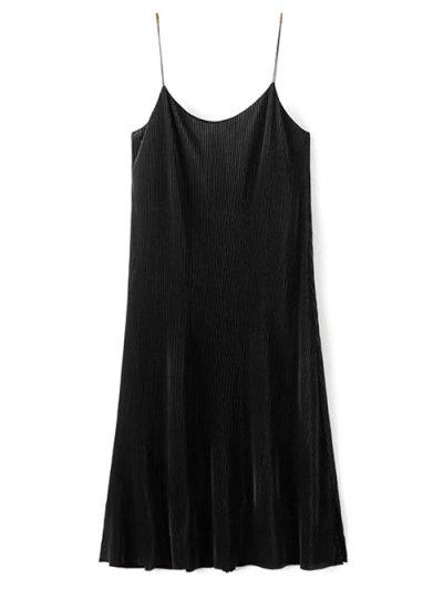 Pleated Slip Dress - BLACK L Mobile