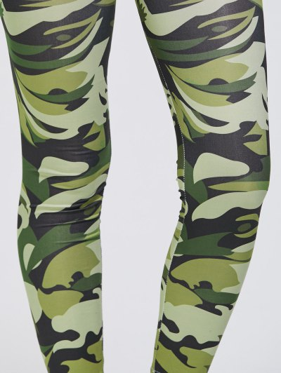 Stretchy Camo Print Sports Leggings - GREEN XL Mobile