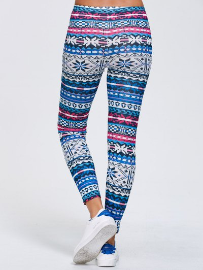 Slimming Fair Isle Stretchy Leggings - BLUE XL Mobile