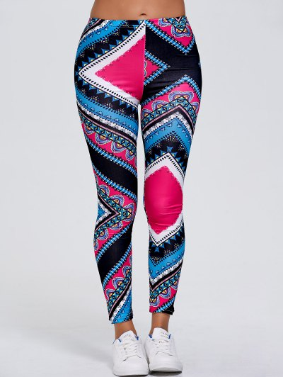Slimming Tribal Print Stretchy Leggings - ROSE RED XL Mobile